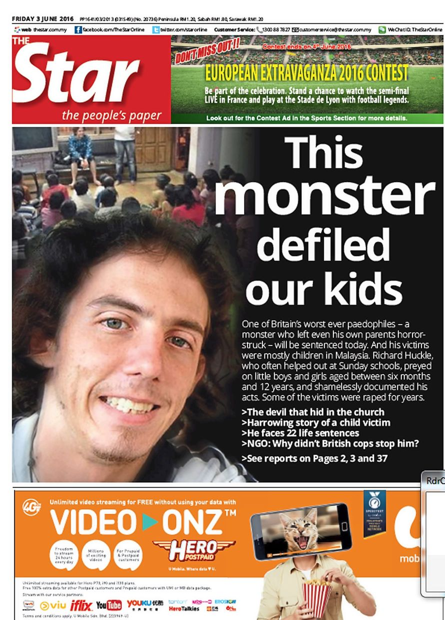 Inhuman: Huckle on the cover of 'The Star' in June 2016 ahead of his sentencing in Britain.