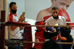 Palestinian girls compete in a rare Gaza boxing contest