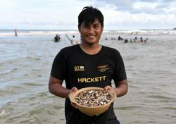 Ocean bounty: Sea snails wash up on Marang beach after cockles last year