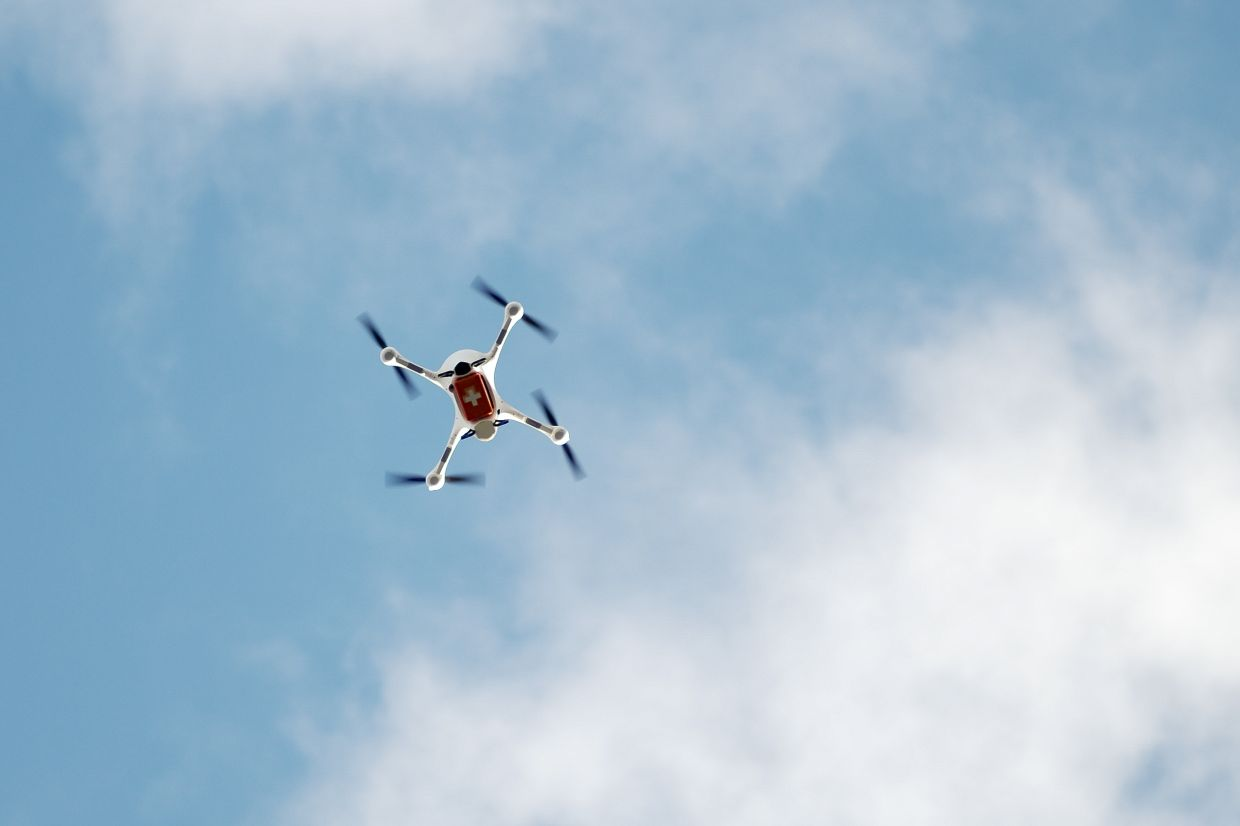 A drone with a case for medical stuff flies during a presentation for media, near the Labor Berlin laboratory in Berlin, Germany. — AP