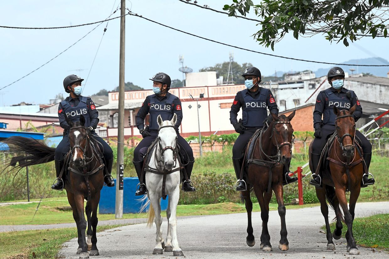 Mane defence: Federal Reserve Unit personnel conducting mounted patrols along the border. — Bernama