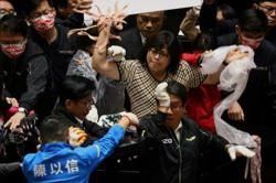 Pig guts fly in Taiwan parliament protest