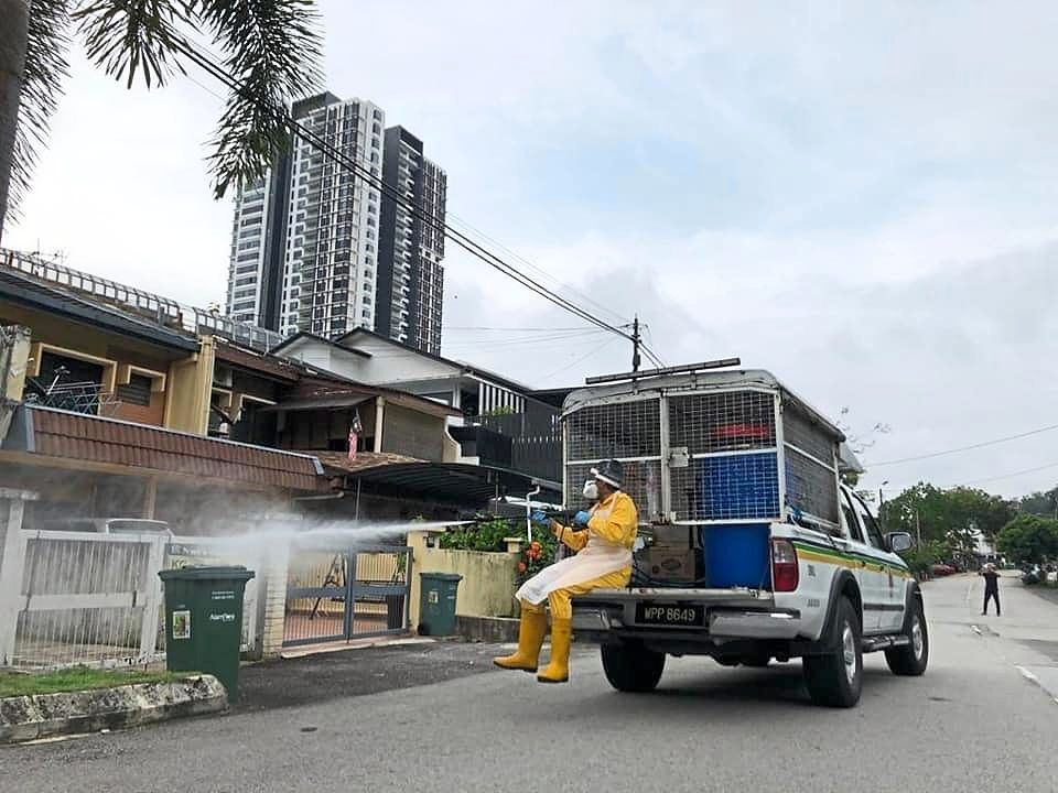 Sanitisation was carried out along five-foot ways and roads in Jalan Kasah and Plaza Damansara (pic, below) by Kuala Lumpur City Hall following the discovery of the Kasah and Damanlela Construction Site clusters. — Photos from Bukit Damansara House Owners' Association Facebook page