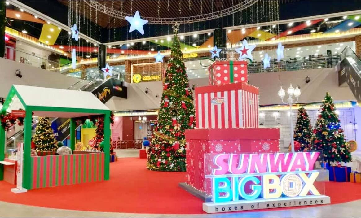 A big jolly Christmas with giant trees and gift boxes awaits at Sunway Big Box Park.