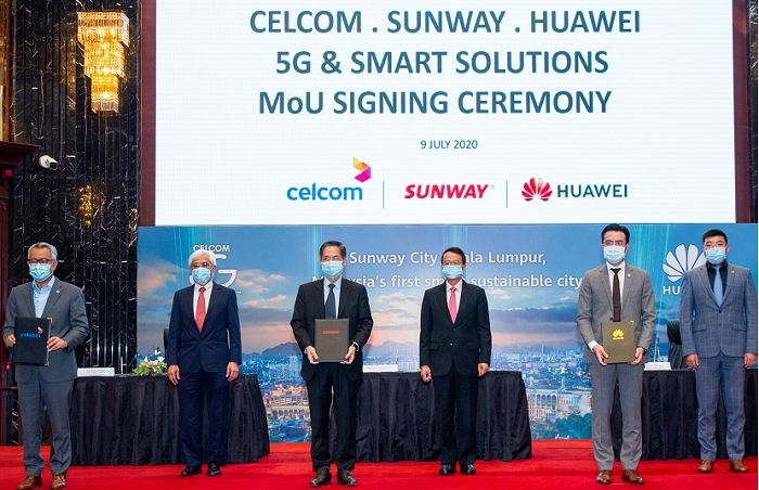 Huawei marks its partnership with Celcom and Sunway.