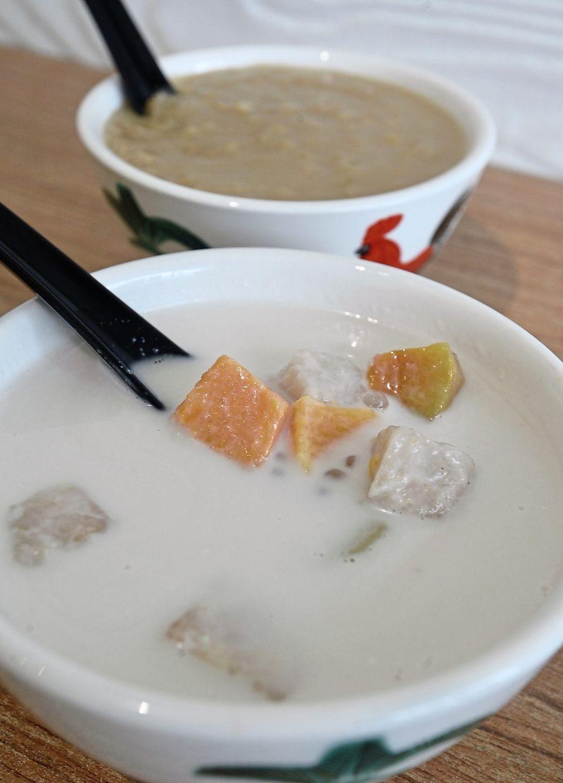 Wheat porridge with gula melaka (back) and bubur cha cha.