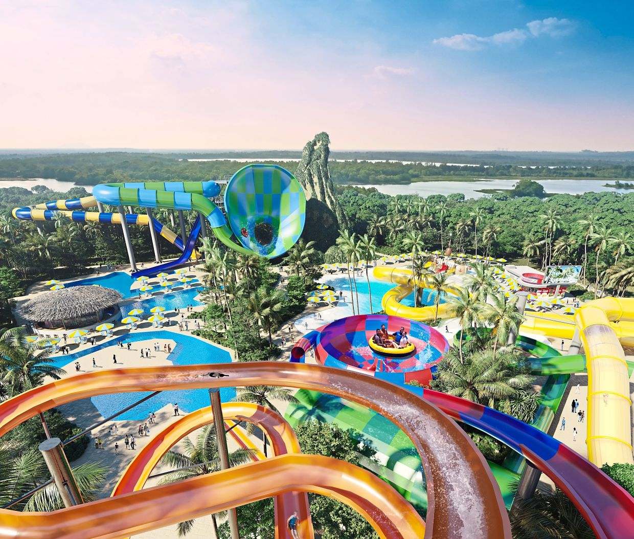 Splashmania features heart-pounding rides like the Free Fall, Ravage River and Thrilling Slide.