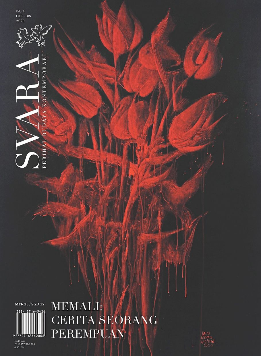 The fourth issue of 'Svara', with a cover image featuring a Bayu Utomo Radjikin painting. Photo: Svara
