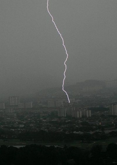 File photo of heavy thunderstorm in Kuala Lumpur. The incidence of lightning is high in Malaysia.