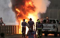 Grosjean leaves Bahrain hospital after fireball crash