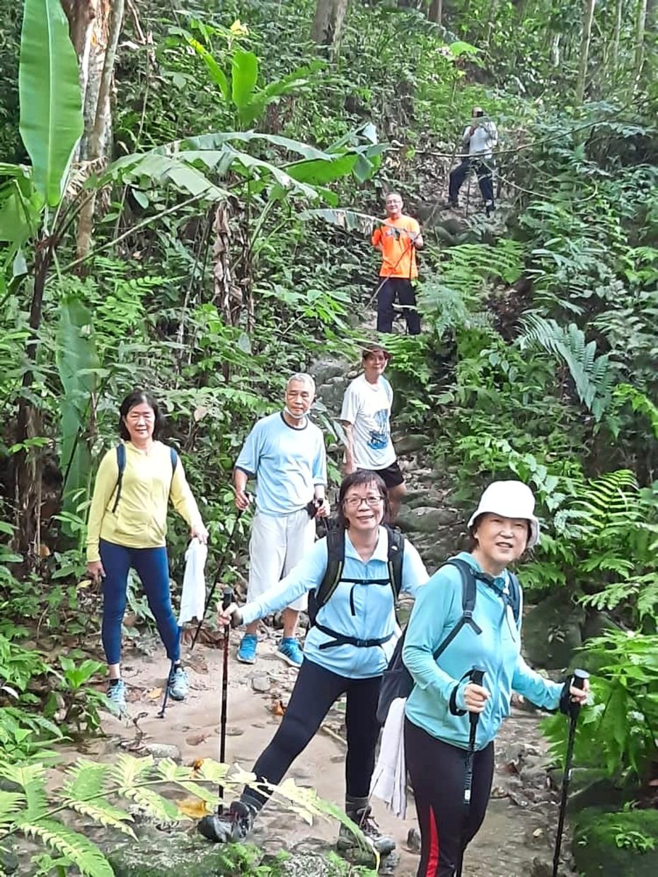 Lim (second from right) and some of her neighbours ensuring physical distancing while hiking at a park near their residences. -Filepic