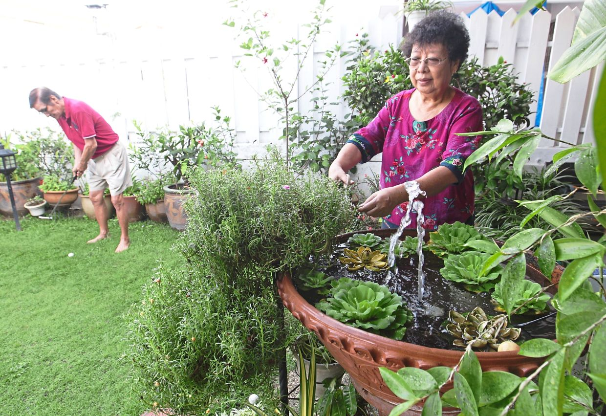 Eileen (right) tending to her plants while Eddie plays mini golf in  the garden.