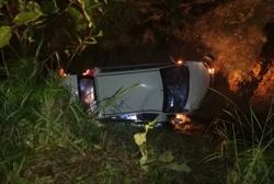 Three, including child, hurt after car plunges into ravine