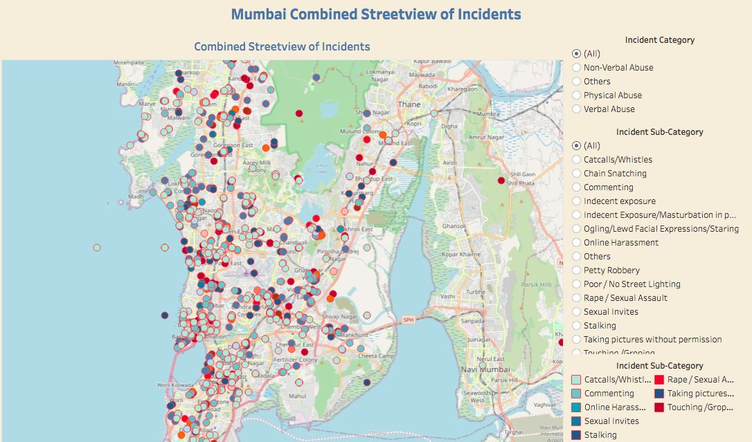 Data on sexual harassment incidents in Mumbai, India, where the app was created by Red Dot Foundation.