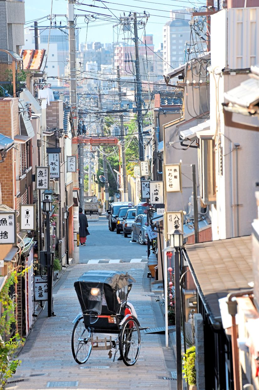 A street in the old part of Kyoto city forms a unique historical ensemble.