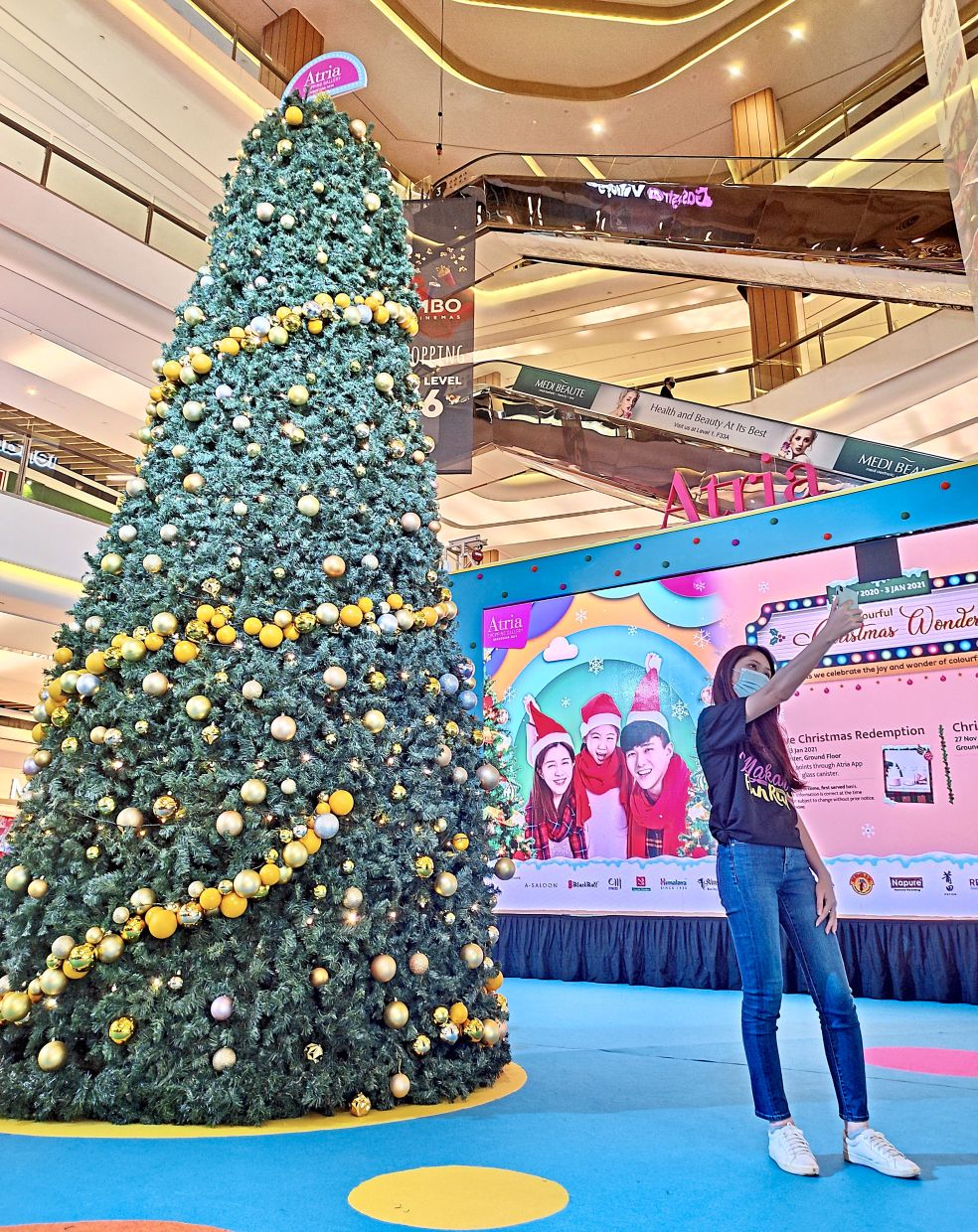 Atria is keeping things simple with its 5.1m Christmas tree at its centre court.
