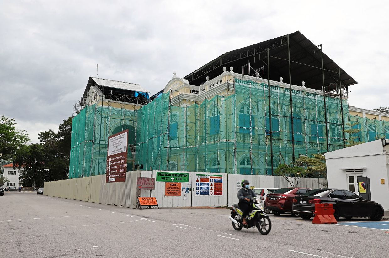 The Town Hall undergoing restoration at the Esplanade.