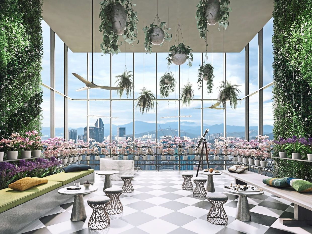 An artist's impression of the conservatory at TRX Residences, a project jointly developed by international property and infrastructure group, Lendlease, with TRX City Sdn Bhd, the master developer of the Tun Razak Exchange (TRX)