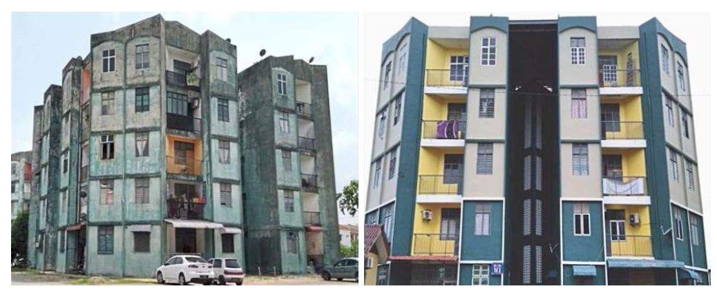 The repainting work of Bandar Baru Kubang Kerian Apartment in Kota Baru is among the many maintenance projects under the TPPM – before (pic left) and after (right).