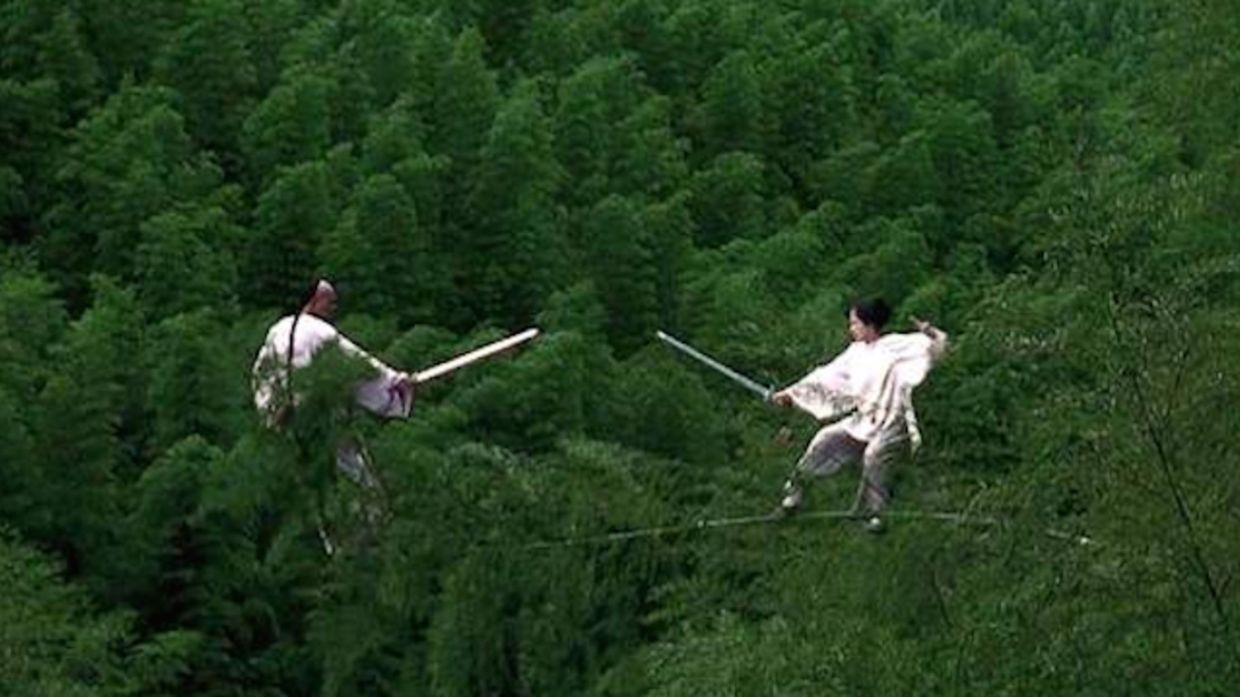 One of the hardest scenes to shoot for Ang Lee is this one involving Chow Yun-Fat and Zhang Ziyi fighting on top of bamboo trees. Photo: Handout