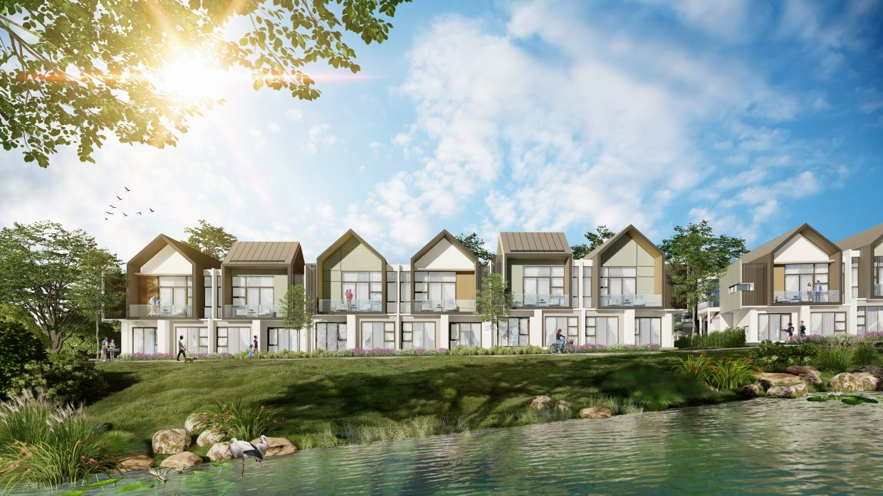 Artist's impression of Blossom Springs' dual facades which enhance aesthetic value by presenting iconic frontage views from multiple directions.