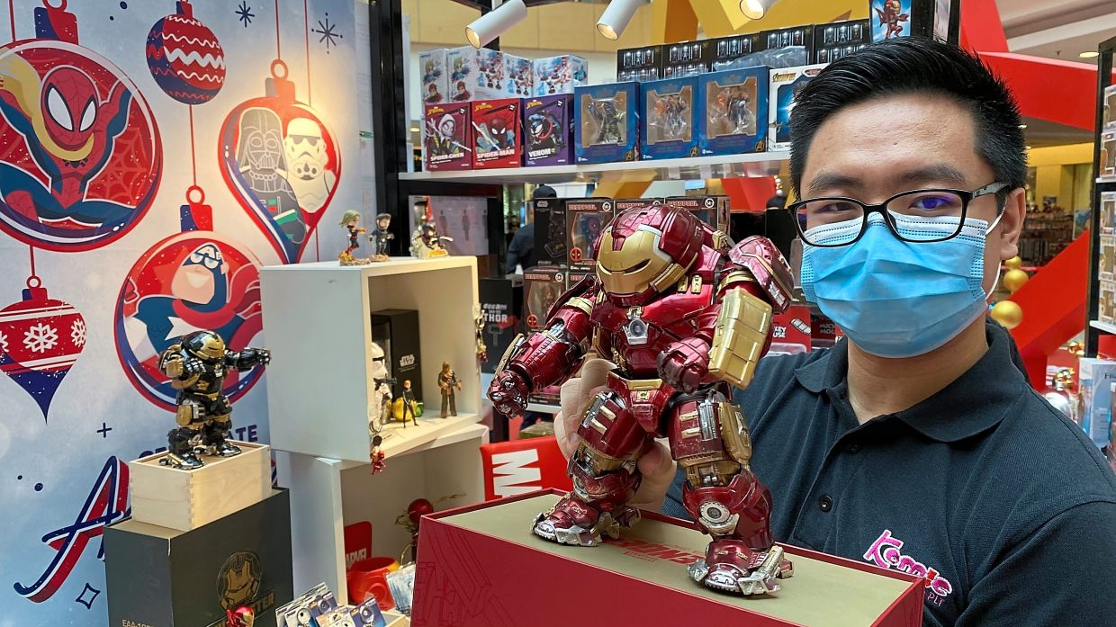 Teh showing one of the Disney characters 'Hulkbuster' on display at the Disney Celebrate Magic exhibition at Sunway Carnival Mall.