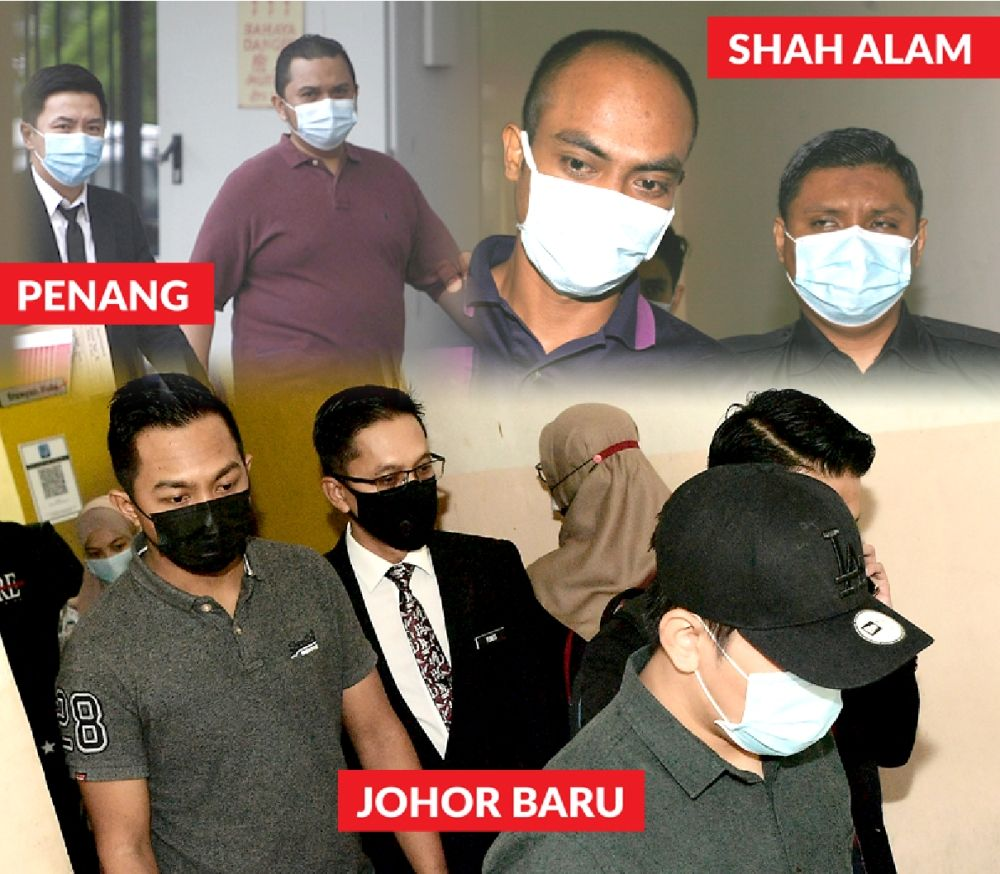 Facing the law: The accused were brought to court to face charges