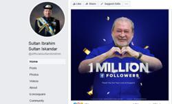 Johor Sultan hits 1mil followers on FB