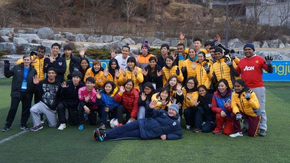 Yeoh (standing, fourth from right) at the 13th UNOSDP Youth Leadership Programme in South Korea in 2015.