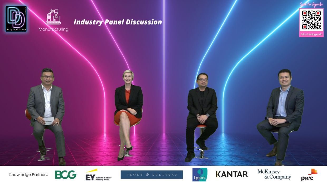 Manufacturing Industry Panel (from left): Siemens Malaysia president and CEO Adam Yee, Mega Fortris (Malaysia) group chief operating officer Karin White, Fusionex Group programme director Raymond Lee and McKinsey & Company expert associate partner Kenneth Koh.