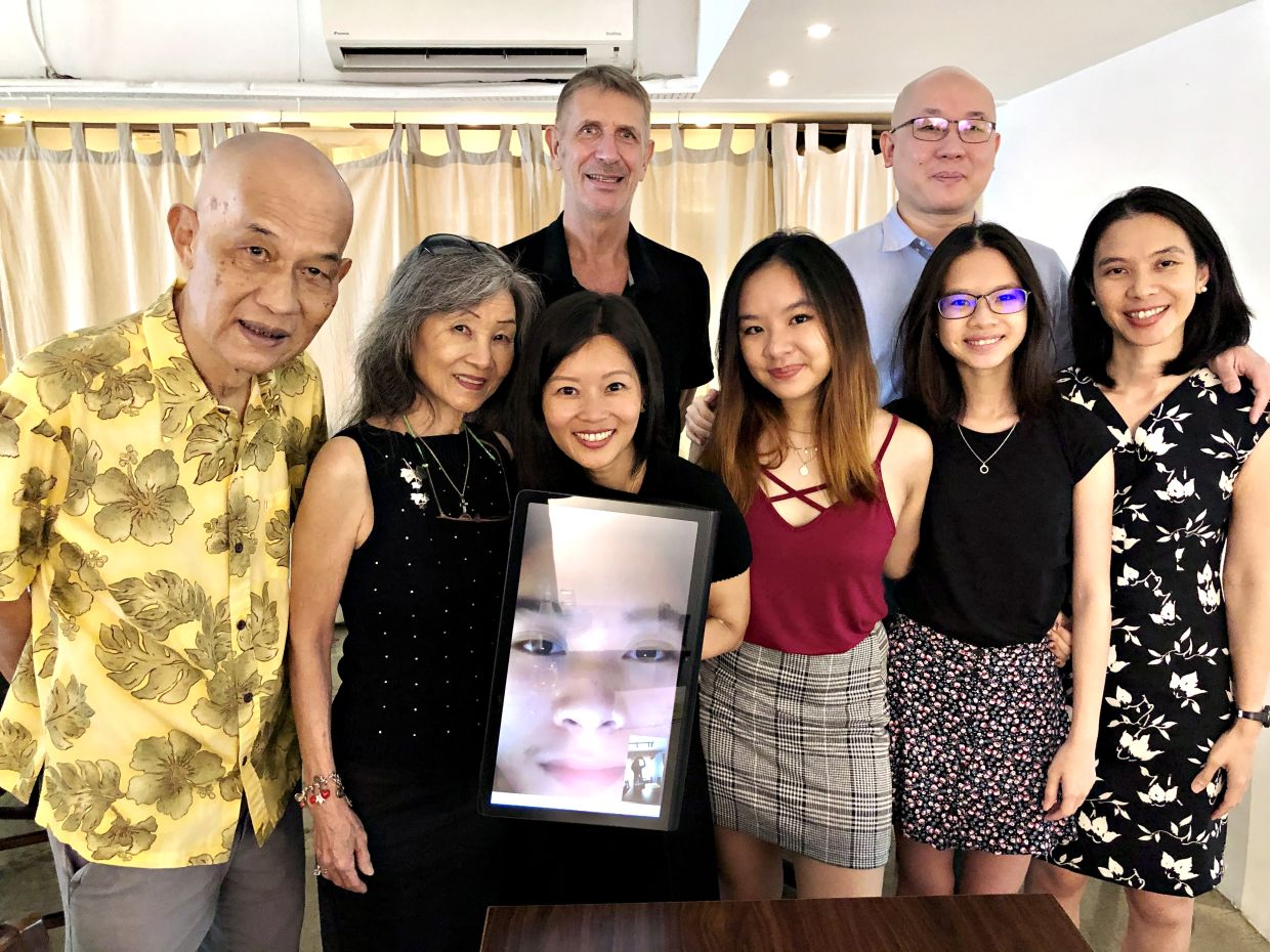 The Tan Clan: Jooi Long, Mary-Joy, Collin, Kate, Faith, Ike, Hope, Jean and Seth (on Zoom). Photo: The Star/Ming Teoh