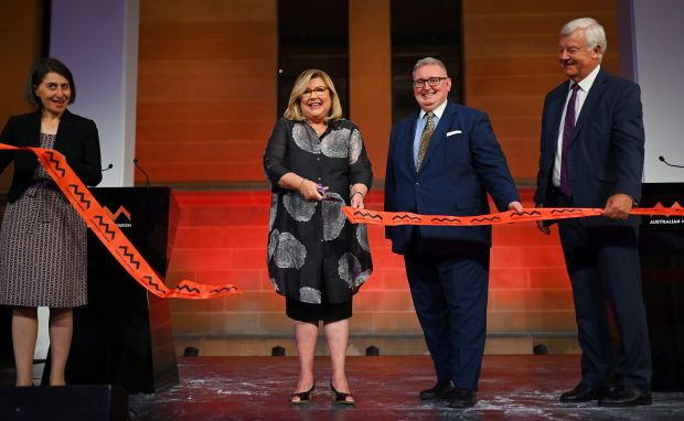 From L to R: NSW Premier Gladys Berejiklian, Director and CEO of the Australian Museum Kim McKay, Minister Don Harwin and President of the Australian Museum Trust David Armstrong cut the ribbon during the reopening of the Australian Museum in Sydney on November 26, 2020.