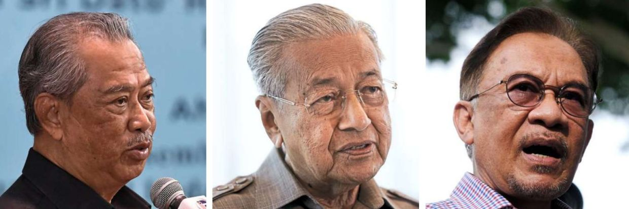 Dramatis personae of the year in politics: (From left) Muhyiddin, the political cat with nine lives; Dr Mahathir, the persistent politician; and Anwar, the perpetual-PM-in-the-wings; plus a slim majority in the Dewan Rakyat all made for strange politics in a very strange year. And things will not be getting back to 'normal' anytime soon in the new year. — Filepics