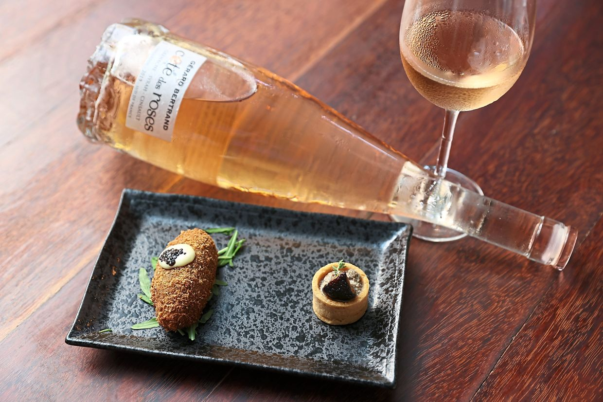 Forest Mushroom Duxelle Tart and Crab Croquette paired with Gerard Bertrand Cote Des Roses.
