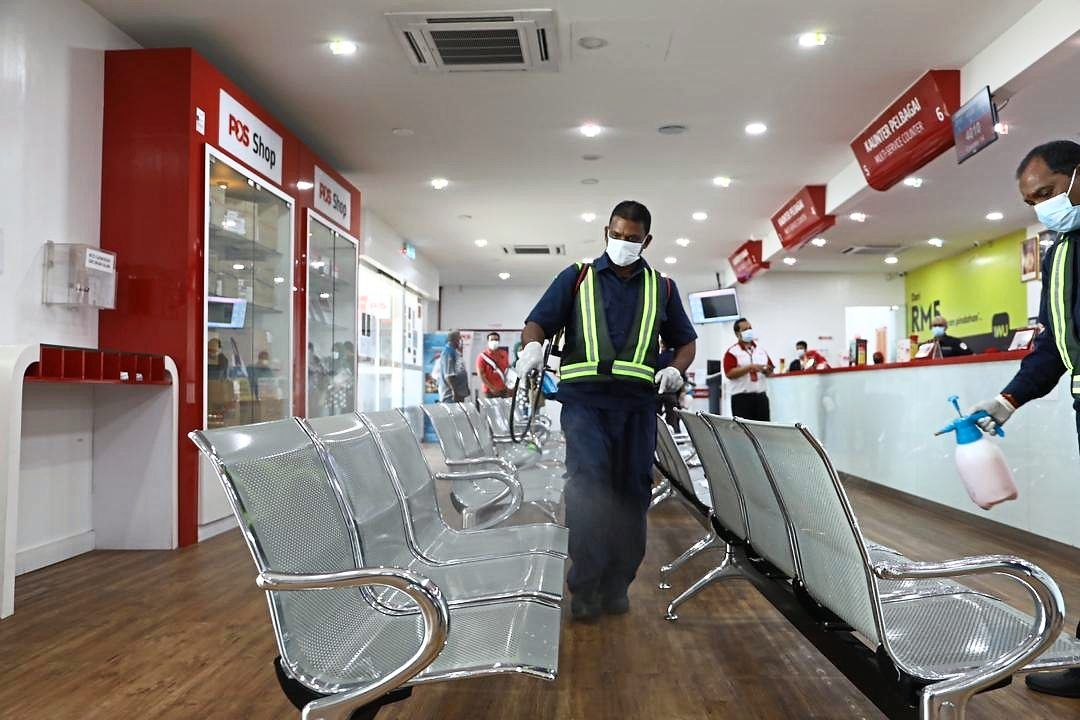 MBSA employees were kept busy disinfecting premises like the Section 14 post office due to the Covid-19 pandemic. — Filepic