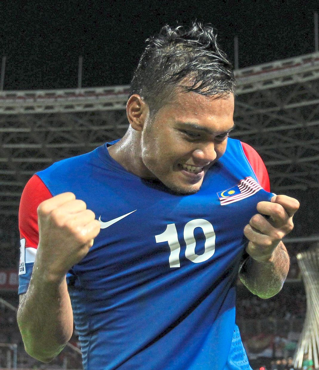 Sheer joy: Safee Sali was the top scorer in the tournament with five goals.