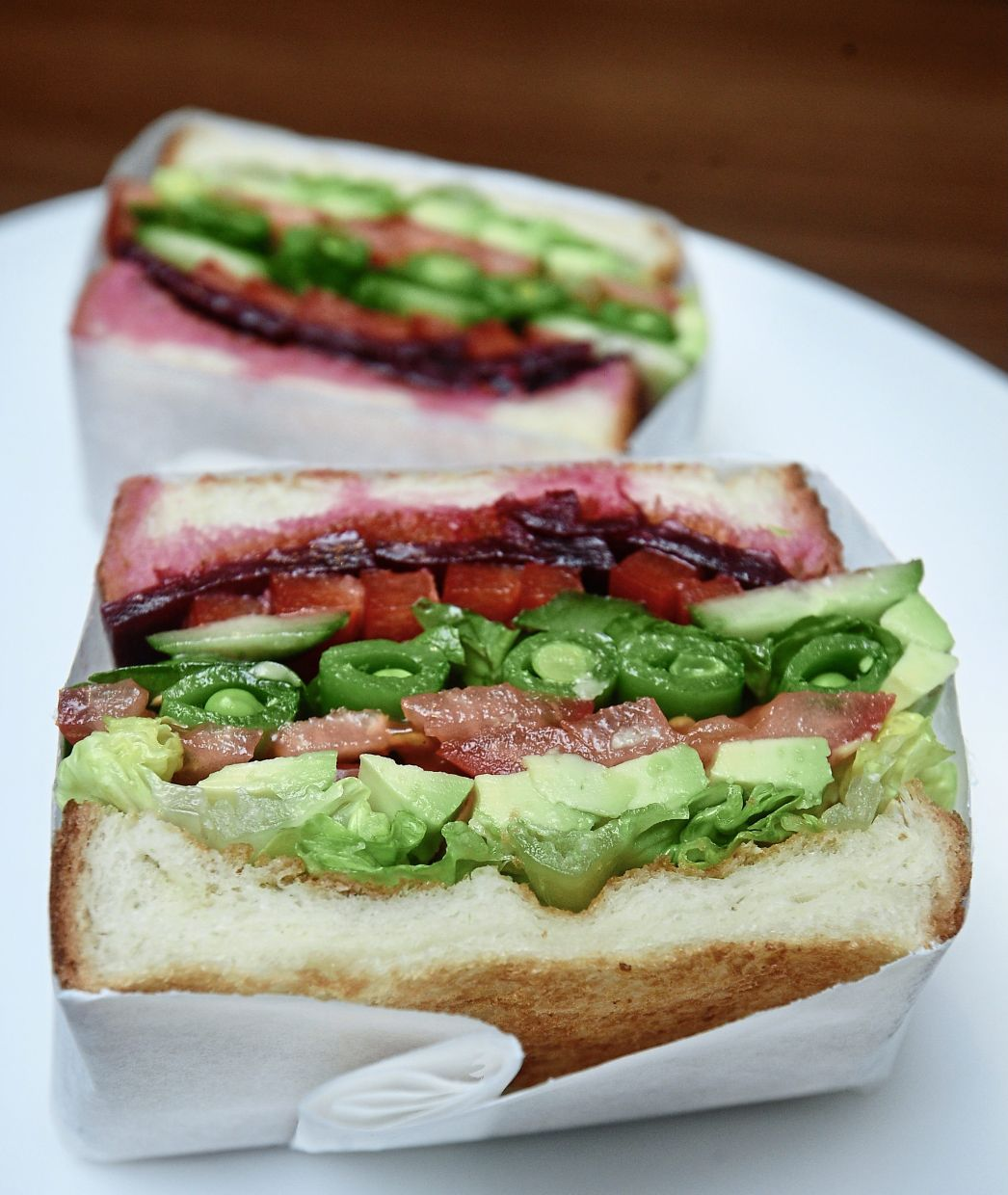 Eight-type vegetable sandwich filled with beetroot, cucumber, avocado, capsicum, tomatoes,  lettuce, snow pea and baby spinach with French dressing. — Photos: SIA HONG KIAU/The Star
