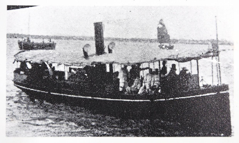 A small pre-war steam-powered ferry carrying passengers in Penang recopied from the book '25 Tahun Suruhanjaya Pelabuhan Pulau Pinang'.