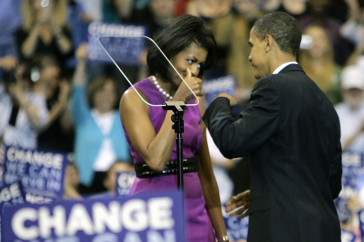 Barack and Michelle Obama famously fist-bumped when he clinched the Democratic presidential nomination in June 2008.