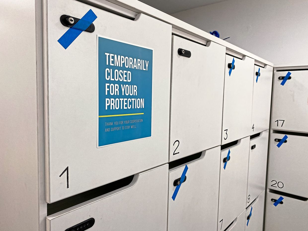 Lockers at DailyMuscle gym are off-limits during the MCO.