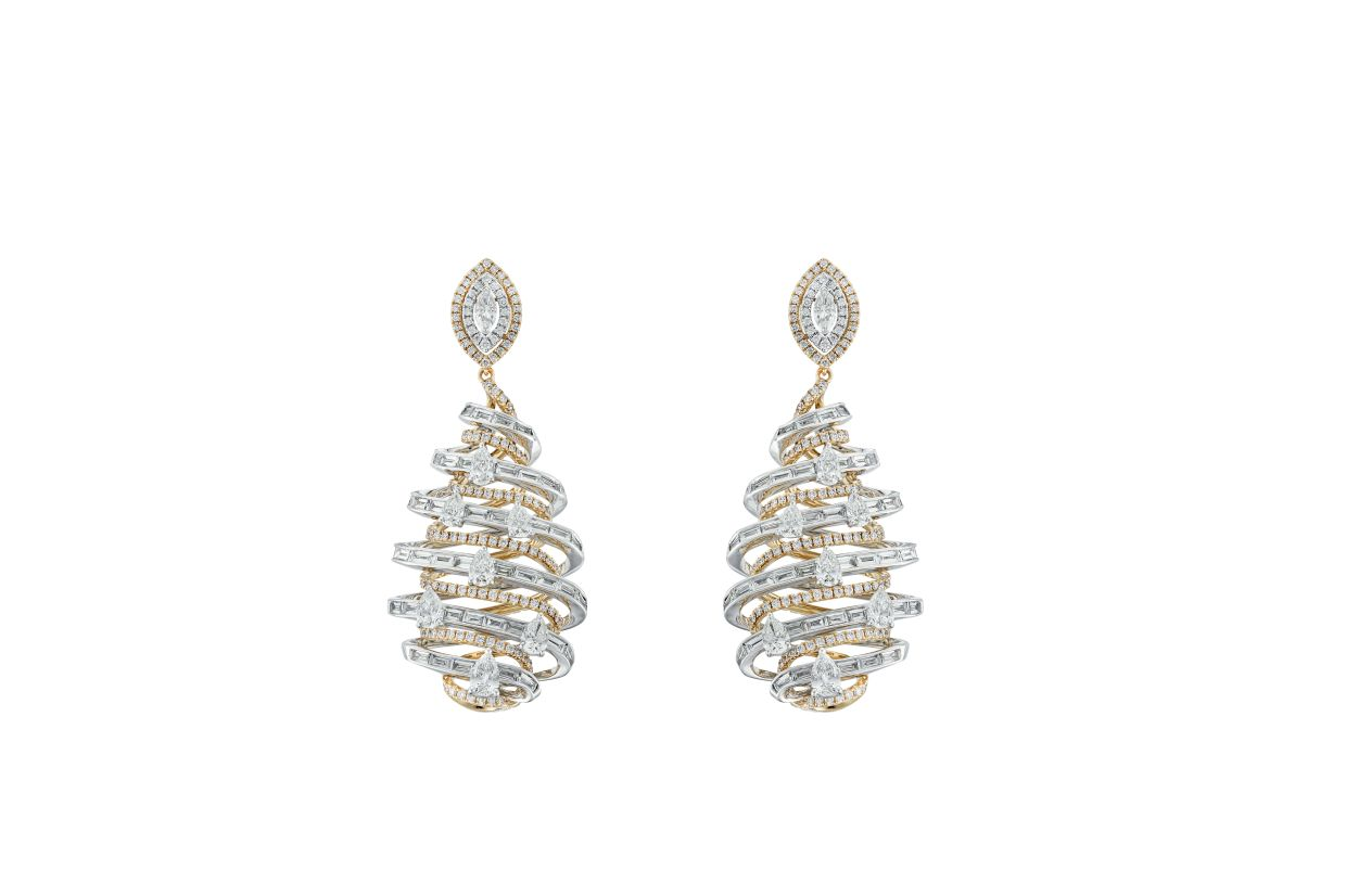 A stunning pair of earrings from the DNA collection, which is made up of brilliant futuristic diamond jewellery.