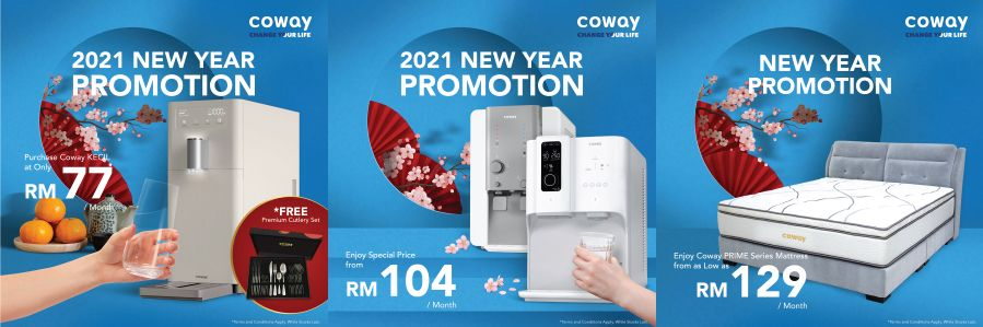 New year and healthier living with Coway's affordable water purifiers and five-star hotel quality mattress.
