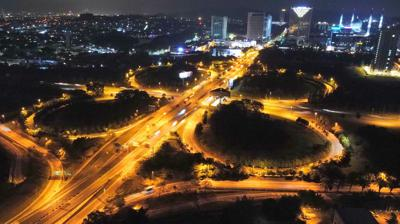 An aerial view of the traffic situation on the first night of MCO 2.0 in Seksyen 15 in Shah Alam. IZZRAFIQ ALIAS/The Star