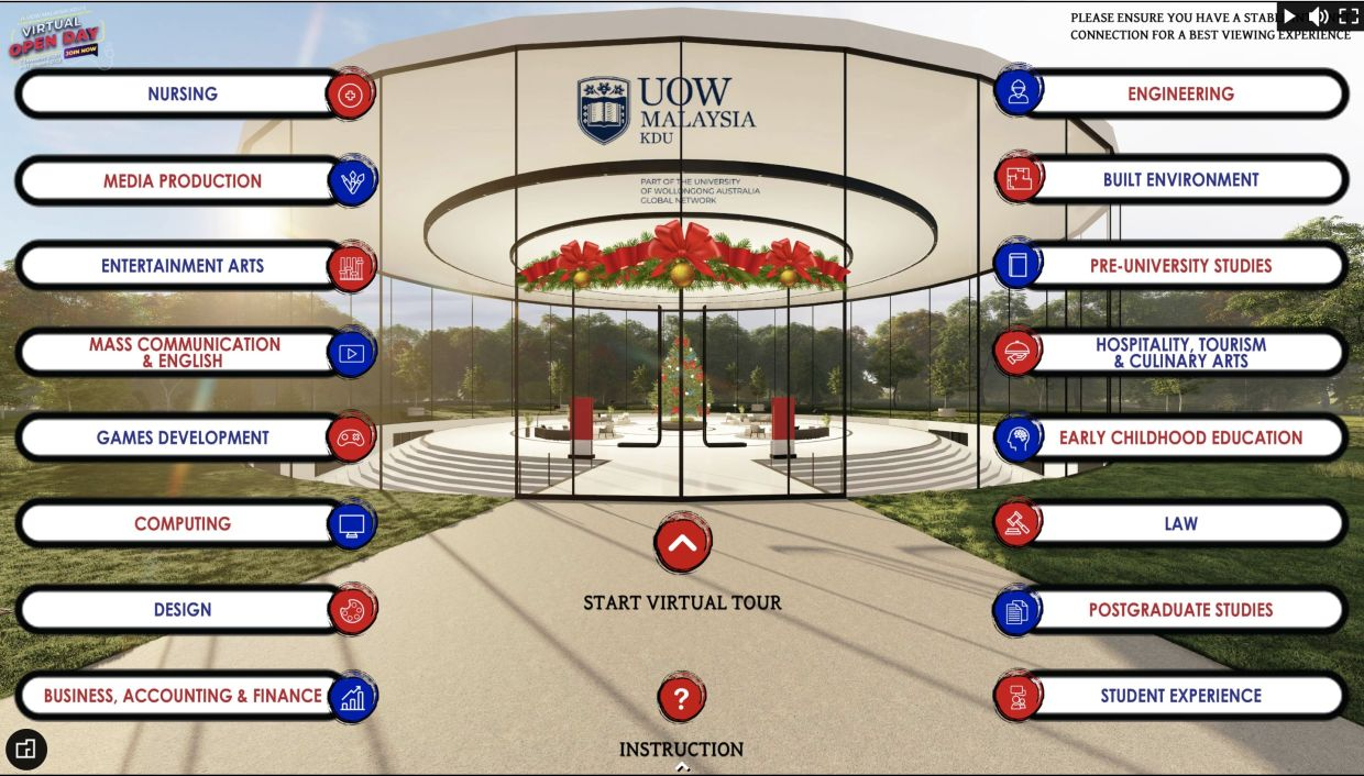 UOW Malaysia KDU Virtual Open Day offers up to 16 virtual rooms.