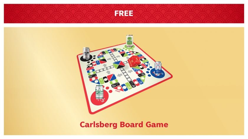 Purchase the special Carlsberg CNY Bundle online and get a Carlsberg Board Game free.
