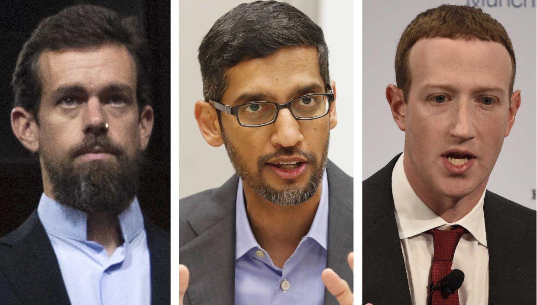(From left) Twitter CEO Jack Dorsey, Google CEO Sundar Pichai, and Facebook CEO Mark Zuckerberg. Photos: AP