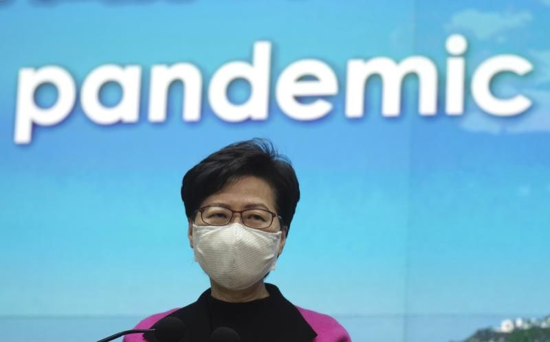 Hong Kong Chief Executive Carrie Lam listening to reporters' questions during a press conference in Hong Kong on  Tuesday (Jan 19, 2021). - AP