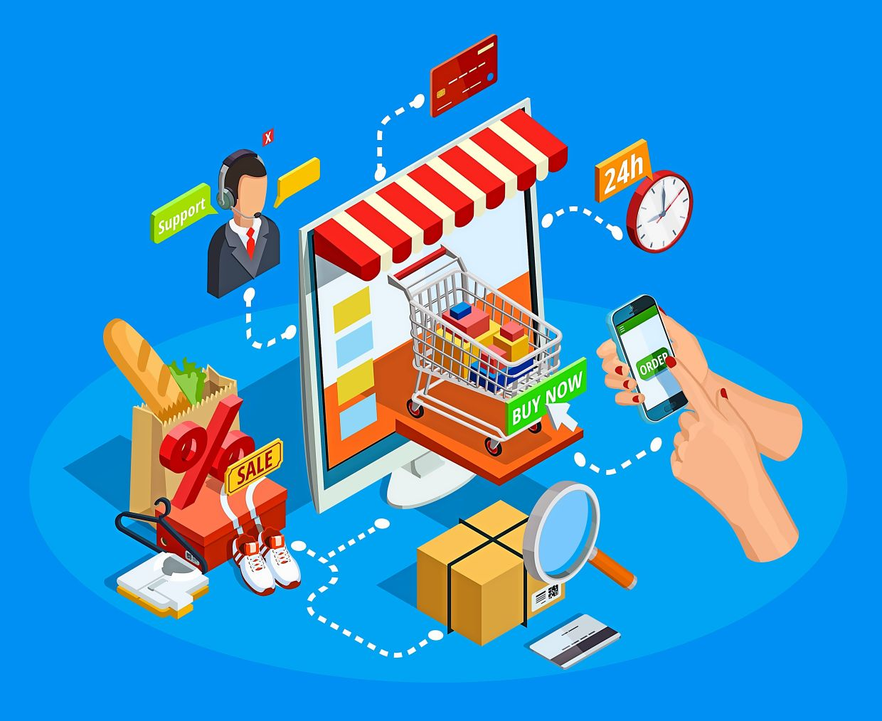 Online shopping has become very easy and convenient, says Eu.  Photo: macrovector