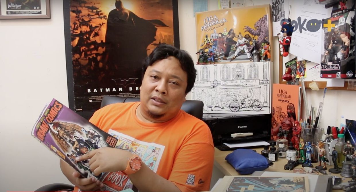 Azhar Abdullah, the founder of Urban Comics, is one of the featured comic book artists in DocuToon. Photo: Sako Plus/Youtube