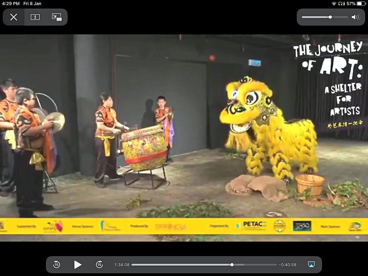 Screengrab of a lion dance performance by Penang Hong Guan Culture Association.